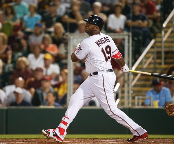 The Twins Kennys Vargas watched his first inning RBI double fly into center field Wednesday evening at Hammond Stadium. Byron Buxton scored on the hit
