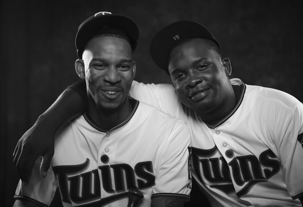 Twins outfielder Byron Buxton, left, and third baseman Miguel Sano in a portrait on media day at training camp in Fort Myers. ] JEFF WHEELER ï jeff.w