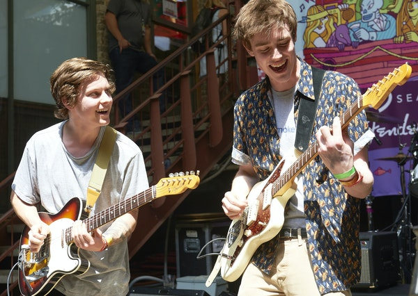 Hippo Campus, a band of 19- to 20-year-old Twin Cities suburbanites, performed at the Floodfest party during the 2015 South by Southwest music festiva