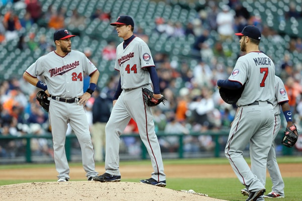 Minnesota Twins starting pitcher Kyle Gibson (44) walks on the mound after giving up a two-run home run to Detroit Tigers' J.D. Martinez during the fo