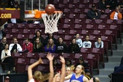 Many seats in Williams Arena were empty during the Class 1A semifinal on Friday between Maranatha Christian Academy and Minneota.