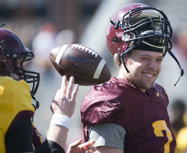 Gophers quarterback Mitch Leidner joked with teammates before the start of Saturday's spring game. For the Gophers to improve from a season ago, the