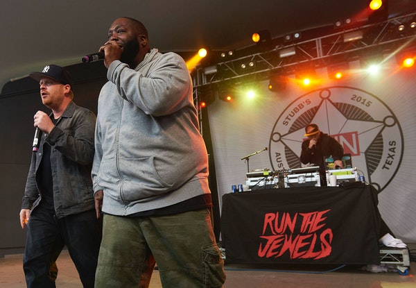 Run The Jewels perform at the Spin party at Stubb's BBQ in Austin, Texas during the 2015 South by Southwest music festival.