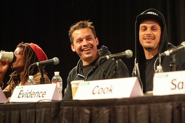 From left, Dem Atlas, Slug and Evidence were part of a South by Southwest 2015 panel focused on the 20-year history of Minneapolis record label Rhymes