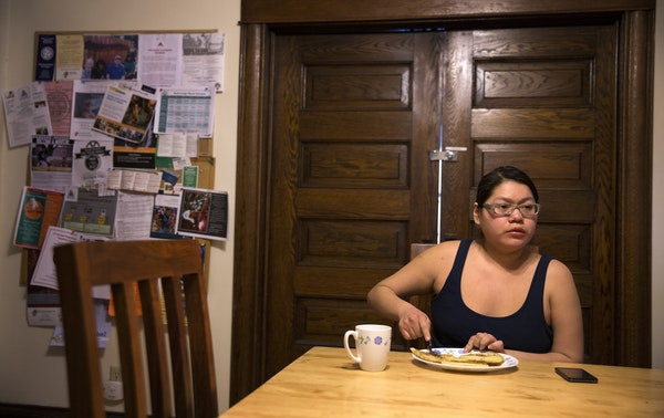 Rosalyn Feather, 19, at Beverley A. Benjamin Youth Lodge in St. Paul. She estimates she's lived in at least eight homes in four years.