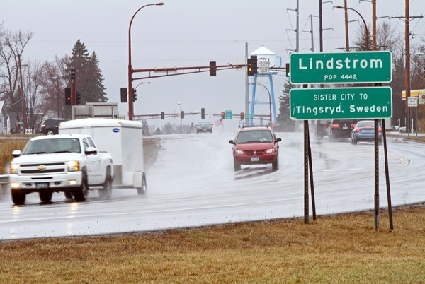 As drivers enter into Lindstrom, Minnesota city limits, they're greeted with a sign with the town's name and population. What they don't see is an uml