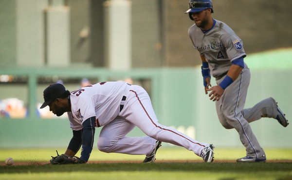 Twins shortstop Danny Santana earned an error fielding on the Royals' Salvador Perez) hit in the eighth inning Monday afternoon at Target Field. Royal