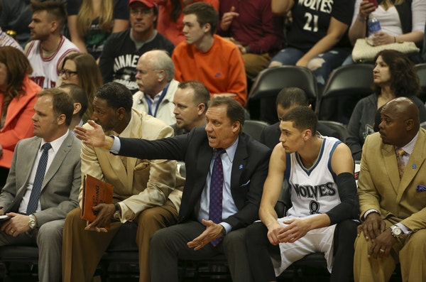 Timberwolves head coach Flip Saunders talked with guard Zach LaVine during a game in March.