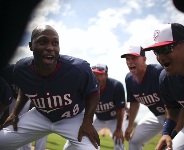 """Torii Hunter (48) took to leading a cheer at the end of workouts in spring training. Leading is practically a part of his job description. """"All I wa"""