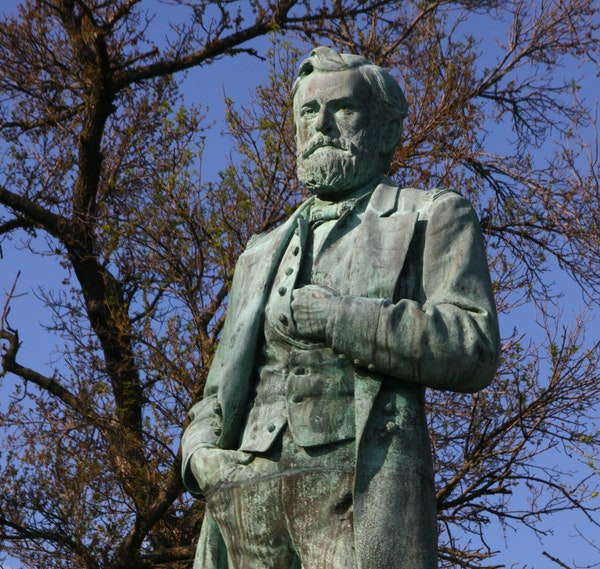 Grant's statue stands in Grant Park, which overlooks the river and downtown in Galena, Ill.