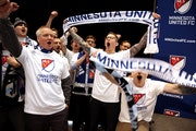Minnesota United FC fans cheered after a news conference with MLS Commissioner Don Garber and Dr. Bill McGuire on Wednesday announced that Major Leagu