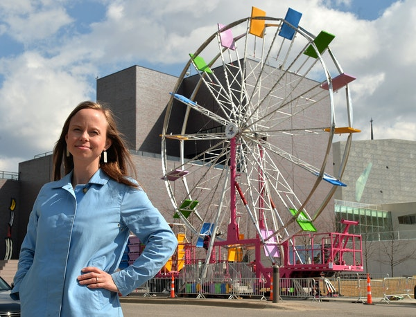 "The Walker's associate director of membership, Kerstin Beyer, rented a Ferris wheel for the ""Pop"" opening party."