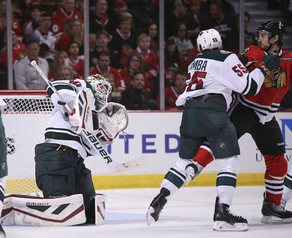 Wild goalie Devan Dubnyk (40) made a second period save Sunday night.