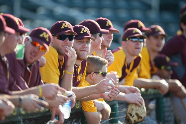 Gophers players watched as the Twins took batting practice before their game in March at Hammond Stadium.