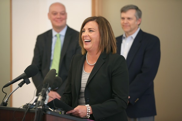Allison O'Toole, newly appointed Interim Chief Executive Officer, addressed the media after the announcement of CEO Scott Leitz's resignation during a