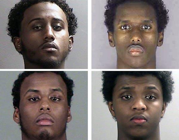 Clockwise, Hanad Mustafe Musse, 19, Guled Omar, 20, Zacharia Yusuf Adurahman, 19, and Adnan Abdihamid Farah, 19. They are four of six Minnesota men of