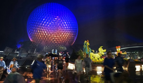 The iconic geodesic sphere plays backdrop to drinking tours of Epcot. Disney offers public transport, from a monorail to water shuttles, for imbibers.