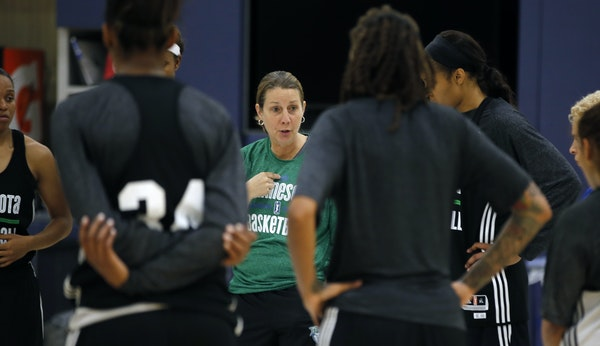 At the Lynx practice facility of the Mayo Clinic Square in Minneapolis, head coach Cheryl Reeve heads a team meeting.