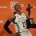 Lynx forward Maya Moore received the MVP trophy in August. She signed a contract extension Thursday.