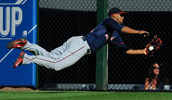 Twins center fielder Aaron Hicks made a spectacular diving catch for the second game in a row, this time robbing Adam Eaton of an extra-base hit to st