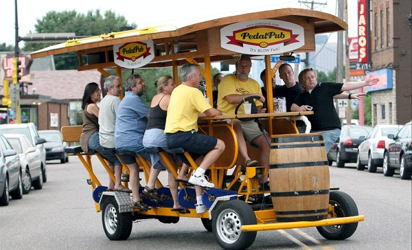 PedalPubs can seat up to 16 passengers and are a common sight touring Twin Cities neighborhoods. Customers bring their own beer and drivers are not al