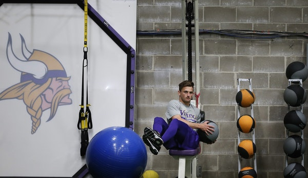 Kicker Blair Walsh was among the Vikings players who were at Winter Park in Eden Prairie for offseason workouts in April.