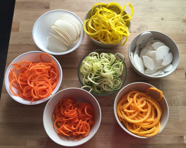 The Spiralizer can yield a variety of shapes.