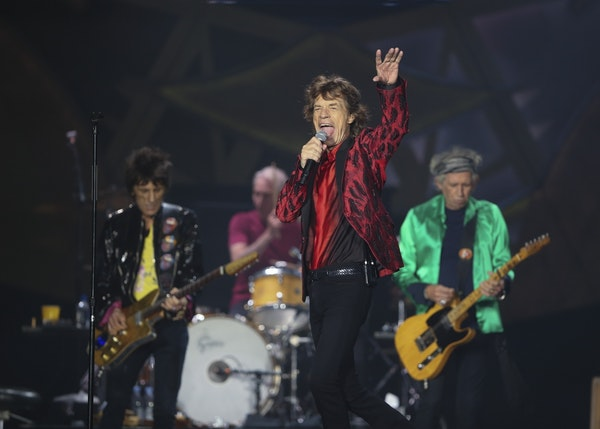 Mick Jagger and the Rolling Stones at TCF Bank Stadium Wednesday night. Ron Wood, Charlie Watts, and Keith Richards are from left.