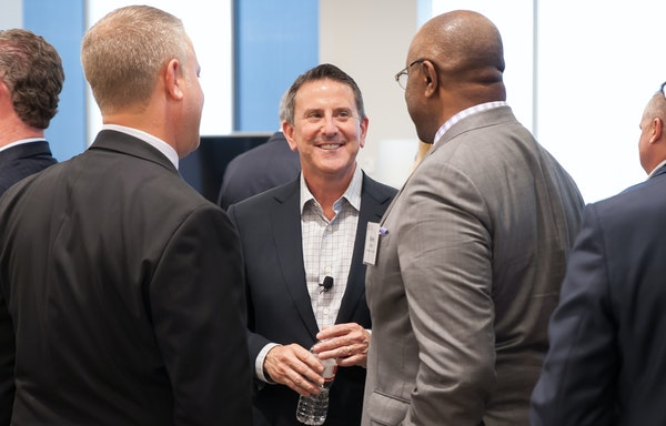 CEO Brian Cornell, center, held the meeting to connect with community leaders in Target's headquarters city.