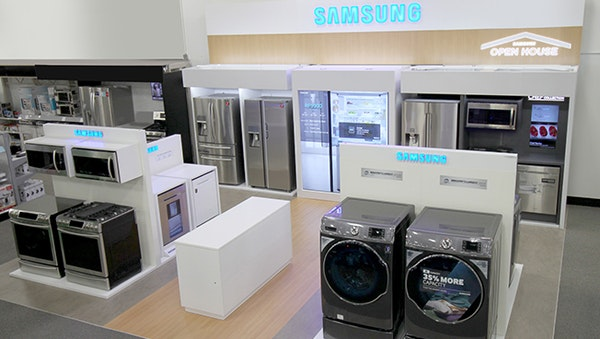 Best Buy is adding dedicated space for Samsung appliances in about 200 of its stores.