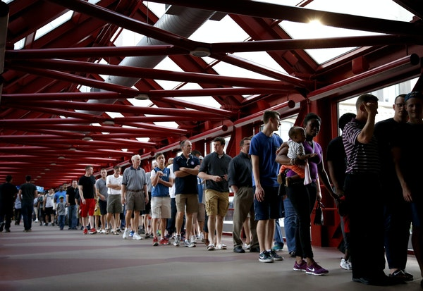 Minnesota Timberwolves fans filled the skyways near Target Center to view the team scrimmage on Wednesday.