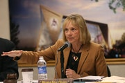 Michele Kelm-Helgen, of the Minnesota Sports Facilities Authority led a hearing in November.