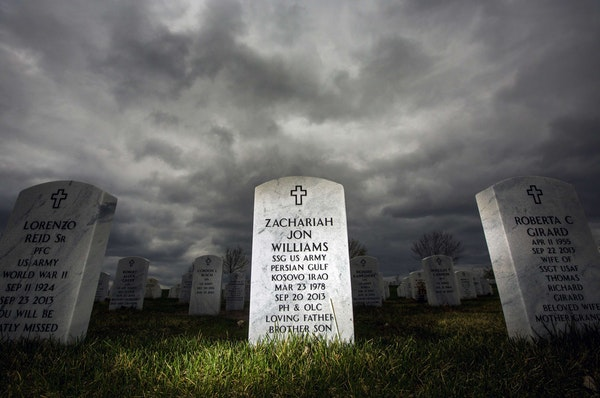 Zach Williams' gravestone sits in the sea of white granite at Fort Snelling National Cemetery. After his pain meds were cut off, he died of an overd