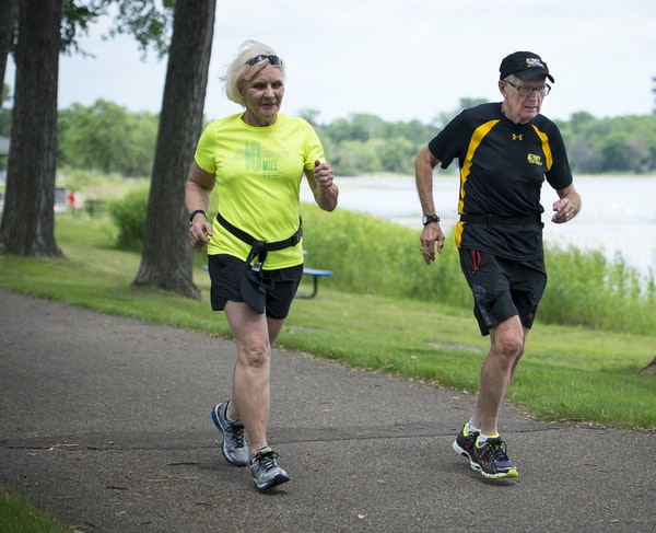 National Senior Games participants DeEtte and Robert Andersen trained at Parkers Lake Park in Plymouth.