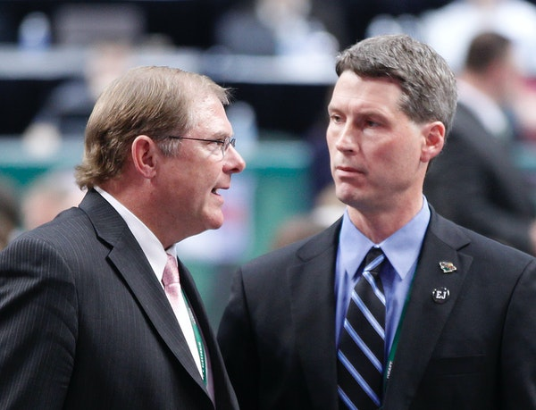 Wild GM Chuck Fletcher, right, with team owner Craig Leipold at the 2011 NHL draft.
