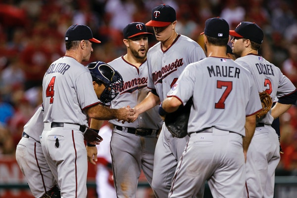Minnesota Twins manager Paul Molitor (4) removes starting pitcher Kyle Gibson, center, during the sixth inning of a baseball game against the Los Ange