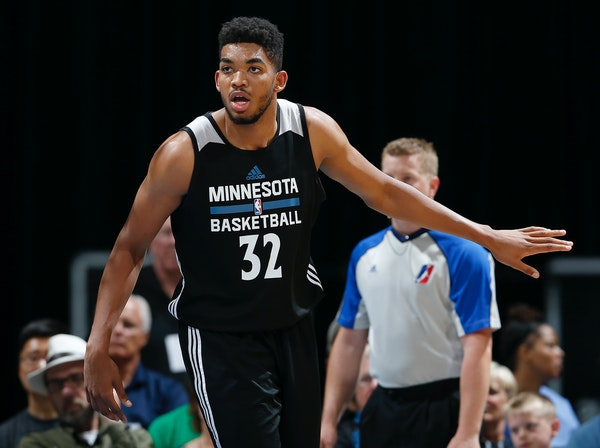Wolves No. 1 pick Karl-Anthony Towns, shown at the Wolves' scrimmage Wednesday, debuted in the NBA's Summer League on Friday and finished with 12 poin