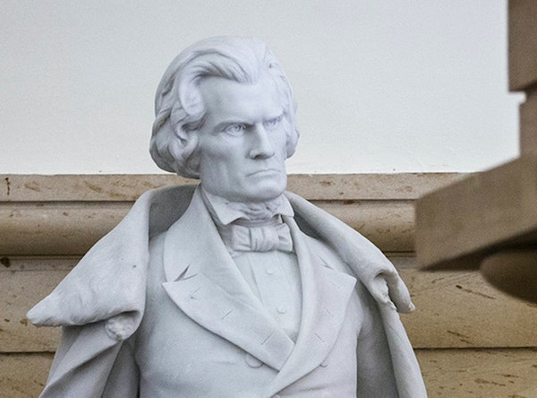 A statue of John C. Calhoun, a pre-Civil War, 19th century South Carolina statesman and slavery supporter, at is pictured at the Capitol building in W