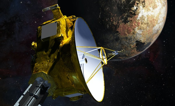 An artist's vision of NASA's New Horizons spacecraft during its upcoming visit to Pluto and Pluto's largest moon, Charon. The probe was launched