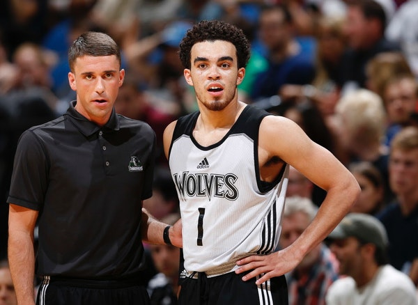 Wolves first-round pick Tyus Jones, right, took direction from assistant coach Ryan Saunders during a scrimmage on July 8 and said he'd continue to le