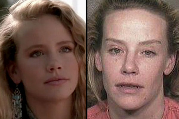 """Amanda Peterson is shown in the 1980s film """"Can't Buy Me Love,"""" left, and in a recent booking photo."""