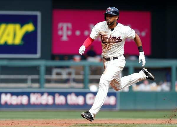 Twins center fielder Aaron Hicks raced to third on a two-run triple off Tigers pitcher Alfredo Simon in the third inning Saturday.