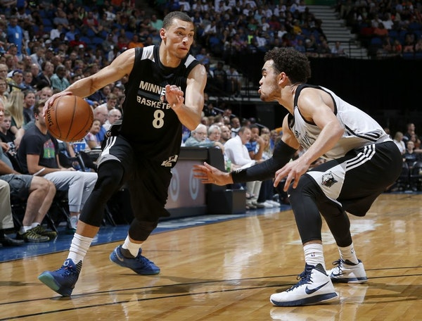 Zach LaVine (8) was defended by Tyus Jones (1) during a team scrimmage at Target Center.