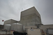 The gray concrete walls of the Monticello nuclear power plant, 40 miles north of the Twin Cities, shown in 2012.