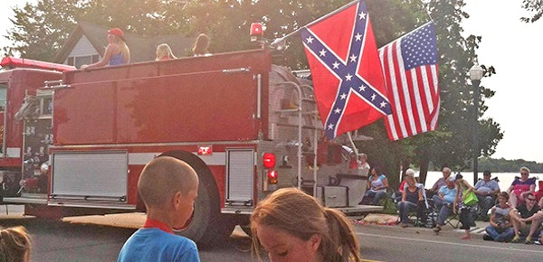 This fire truck displayed the Confederate flag at a July 4th parade on Friday in Albert Lea, Minn.