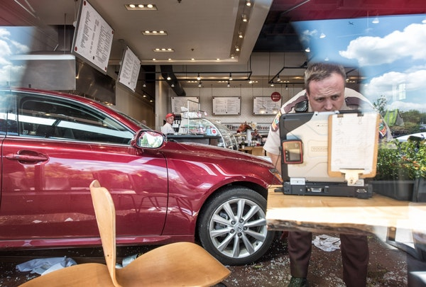 Minnesota State Troopers investigated a vehicle that crashed through the doors of Yum Kitchen and Bakery on 4000 Minnetonka Blvd, St. Louis Park Wedne