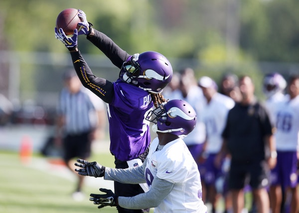 Receiver Cordarrelle Patterson could not make a catch that was thrown high during Vikings training camp at Minnesota State University Monday July 27,
