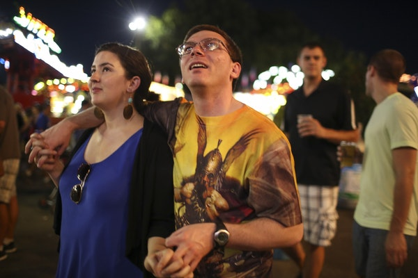 Damon Thibodeaux and his girlfriend, Veronika Castellanos, strolled down the Midway during their first visit to the Minnesota State Fair in August 201