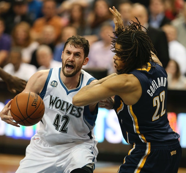 The Minnesota Timberwolves returned from the All-Star break and beat the Indiana Pacers 104-91 Wednesday night. Kevin Love of the Timberwolves was fou