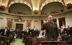 During a swearing in ceremony at the House chambers, Rep. David Dill is on the right.